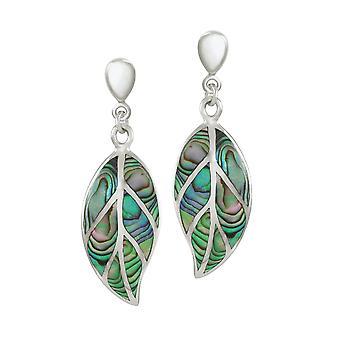 Eternal Collection natur abalone Sterling Silver Leaf drop Clip på øredobber