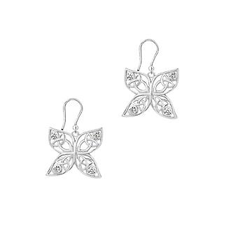"""Celtic Holy Trinity Knots Butterfly Shaped Drop Style Pair Of Earrings - Cubic Zirconia Crystals - Includes A 16"""" Silver Chain"""