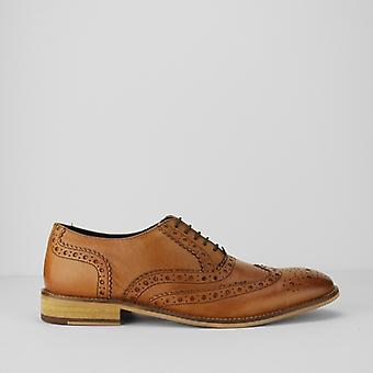 Roamers Winston mens lederen Brogue Oxford schoenen Tan