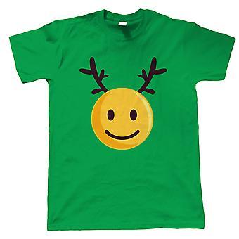 Rena emoji de Natal sorridente, camiseta masculina - Presente de Natal para ele pai