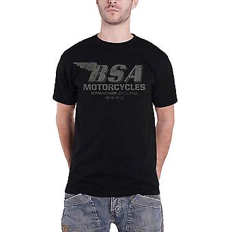 BSA Motorcycles T Shirt Birmingham Distressed Logo Official Mens New Black
