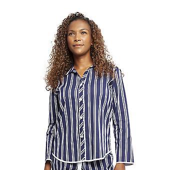Cyberjammies 4374 Women's Heather Dark Blue Sateen Stripe Cotton Pyjama Top
