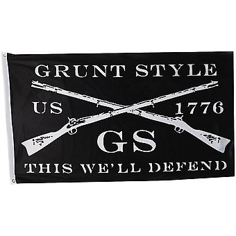 Grunt Style Logo This We'll Defend Flag - Black