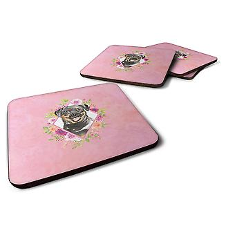 Set of 4 Rottweiler Pink Flowers Foam Coasters Set of 4