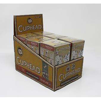 Cuphead Blind Box Display mit 12 Bausatz-Figuren sortiert. Material: Kunststoff. Hersteller: McFarlane.