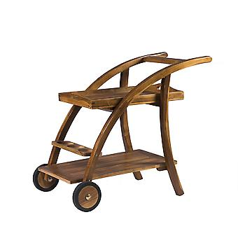 Solid Hardwood Foldaway Drink Serving Trolley Cart - Entertaining Parties Guests