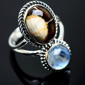 Peanut Wood Jasper, Rainbow Moonstone Ring Size 9 (925 Sterling Silver)  - Handmade Boho Vintage Jewelry RING990110