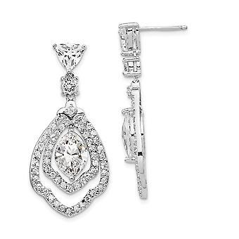 17.33mm Cheryl M 925 Sterling Sølv CZ Cubic Zirconia Simuleret Diamond Post Øreringe smykker gaver til kvinder