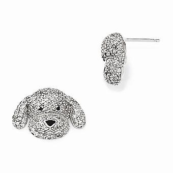 21mm Cheryl M 925 Sterling Silver Enameled CZ Cubic Zirconia Simulated Diamond Puppy Post Earrings Jewelry Gifts for Wom