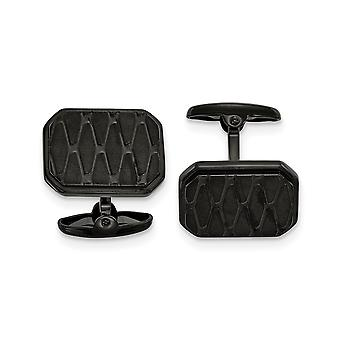 15.99mm Stainless Steel Brushed and Polished Black Ip plated Cuff Links Jewelry Gifts for Men