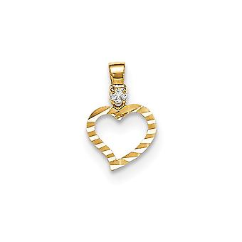 14k Yellow Gold CZ Cubic Zirconia Simulated Diamond Sparkle Cut for boys or girls Love Heart Pendant Necklace