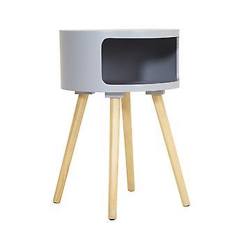 Charles Bentley træ sidebord med pine ben og opbevaringshylde Grå Seng Dia 38xH57cm