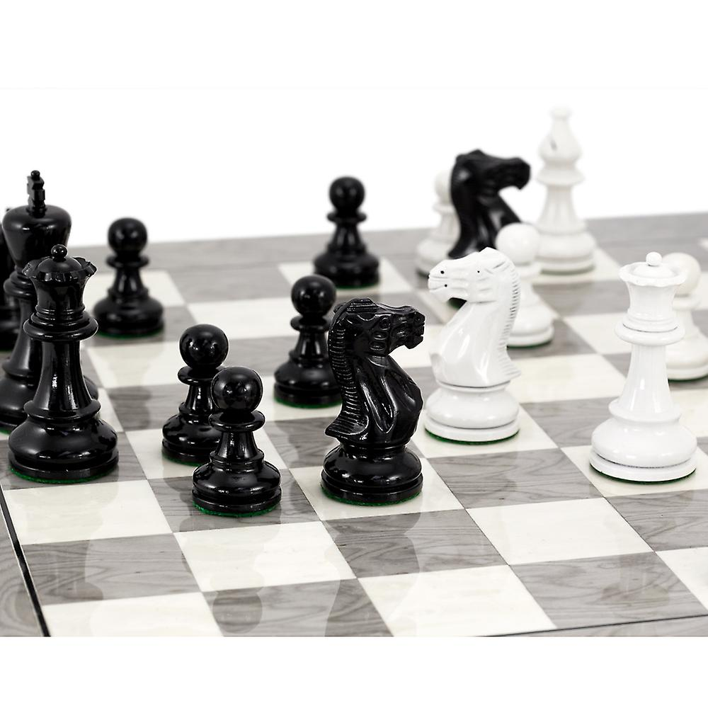 Atlantic Black and White Burl Chess Set