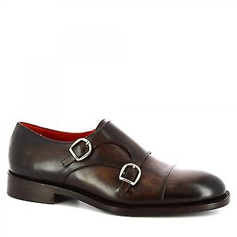 Leonardo Shoes Men's handmade double monk classy shoes in brown calf leather