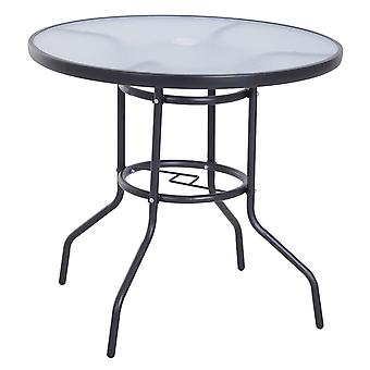 Outsunny Outdoor Round Dining Table Tempered Glass Top Steel Frame Bistro Coffee End Side Table Garden w/ Parasol Hole 8