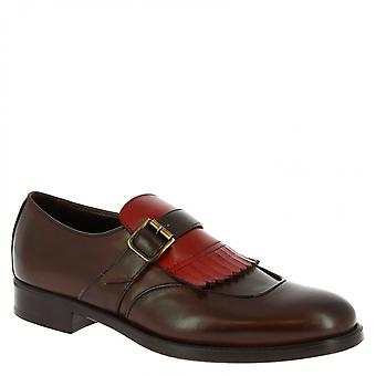 Men's handmade monk loafers in dark brown calf leather with red fringe