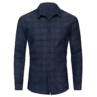 Allthemen Men's Plaid Printed Shirt Loose Fit Blue Long Sleeve Denim Blouse