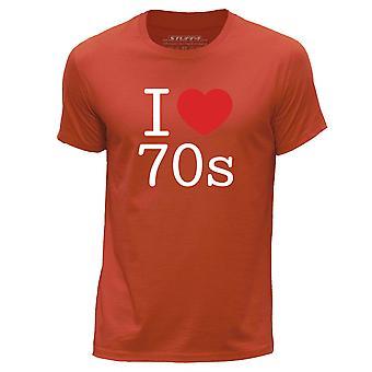 STUFF4 Men's Round Neck T-Shirt/I Heart 70s / Love Seventies/Orange