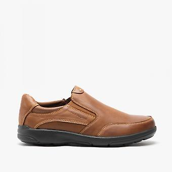 Hush Puppies Aaron Mens Leather Slip On Shoes Brown