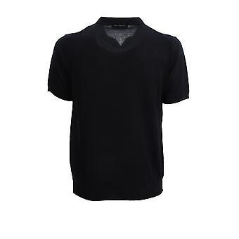 Corneliani 85m5660125191001 Men's Blue Silk Polo Shirt