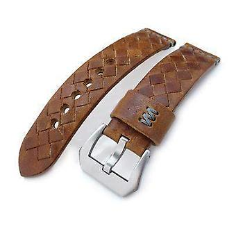 Strapcode leather watch strap miltat zizz collection 22mm braided calf leather watch strap, tawny brown, grey stitches