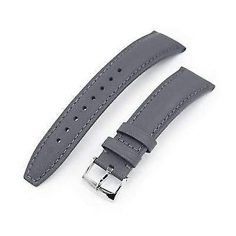 Strapcode leather watch strap 20mm or 22mm military grey kevlar finish watch strap, polished