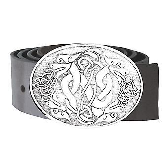 Celtic Dragons with Celtic Knotwork Oval Pewter Kilt Buckle 95mm x 75mm