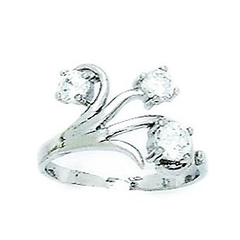 14k White Gold CZ Cubic Zirconia Gesimuleerde Diamond Top Verstelbare Bloemen Body Sieraden Teen Ring Sieraden Geschenken voor vrouwen