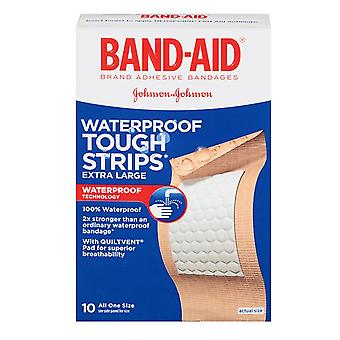 Band-aid waterproof tough strips bandages, extra large, 10 ea