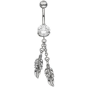 Belly navel piercing stainless steel spring with SWAROVSKI® ELEMENTS