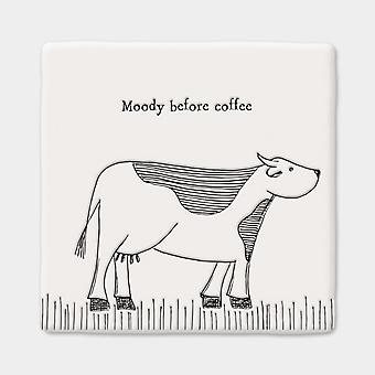 East of India Square Porcelain Keepsake Coaster Cow 'Moody before coffee'