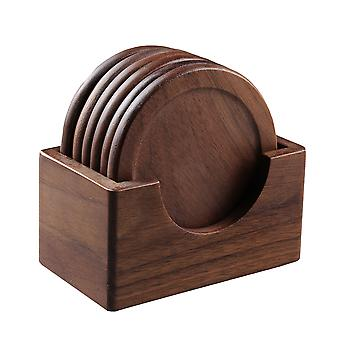 7 Pcs Beech Wood Coaster