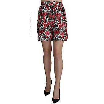 Dolce & Gabbana Rose Print Garterized Silk Mini Shorts -- SKI1548400