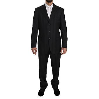 Z ZEGNA Black Striped Two Piece 3 Button Wool Suit -- KOS1865008