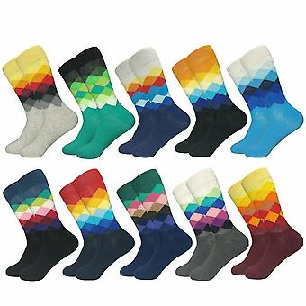 Patterned Men's Socks, Checkerboard Pattern - 10 Pairs