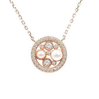 Luonnon helmi CZ riipus kaulakoru Pink Rose kultaa morsiamen Wedding pyöreä 925 hopea