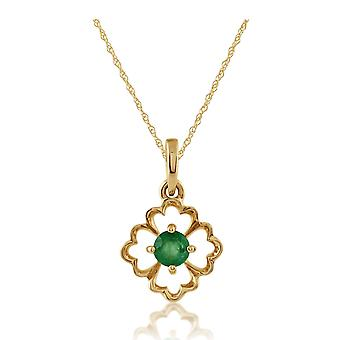 Floral Round Emerald Pendant Necklace in 9ct Yellow Gold 135P1558019