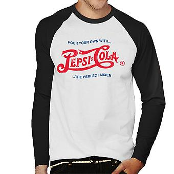 Pepsi Cola 1943 Distressed Logo Pour Your Own Men's Baseball Long Sleeved T-Shirt