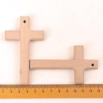 Home Decor Handmade Natural Wooden Christian Cross Pattern Ornament 80x50mm - Bricolage Scrapbooking Craft