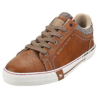 Mustang Lace Up Low Top Mens Fashion Trainers in Cognac