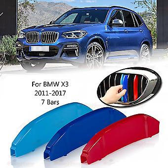 BMW X3 2011-2017 7 Bars Clip In Grill M Power Kidney Stripes Cover