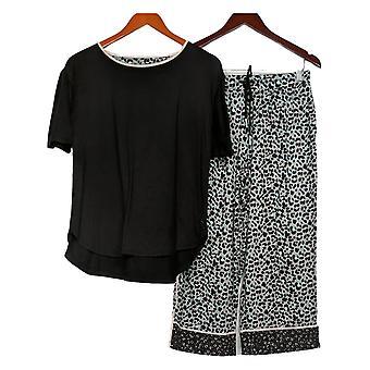 Cuddl Duds regelmäßige Pyjama Set gedruckt abgeschnitten Hose schwarz A373980