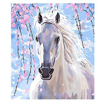 Ramme blomst hest maleri av tall kit dyr akryl maling av tall for voksen unik gave hjem dekors kunst