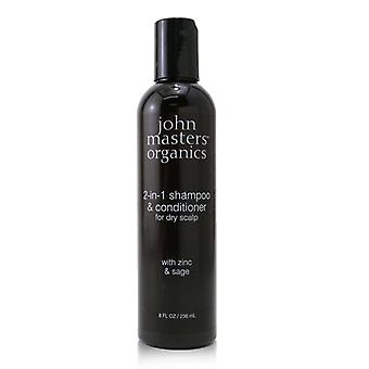 John Masters Organics 2-in-1 Shampoo & Conditioner For Dry Scalp with Zinc & Sage 236ml/8oz