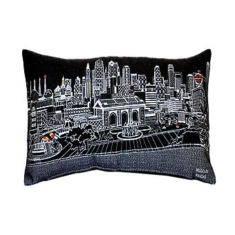 Spura Home Kansas City Skyline Embroidered Wool Cushion Day/Night Setting