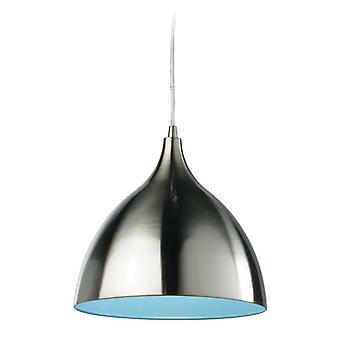 Firstlight Caf - 1 Light Dome Ceiling Pendentif En acier brossé, Intérieur bleu, E27