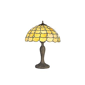 2 Lampada da tavolo curva leggera E27 con 40cm Tiffany Shade, Beige, Clear Crystal, Aged Antique Brass