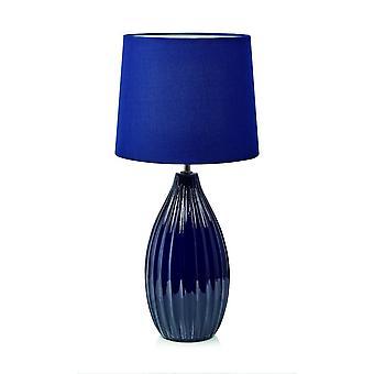 1 Lampada da tavolo indoor leggera blu con ombra rastre nastro, E27