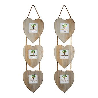 "Nicola Spring Set of 5 4 x 4 Wooden Hanging Multi 3 Photo Picture Frames - Heart Shaped Frames - Fits 4x4"" Photos - Natural"
