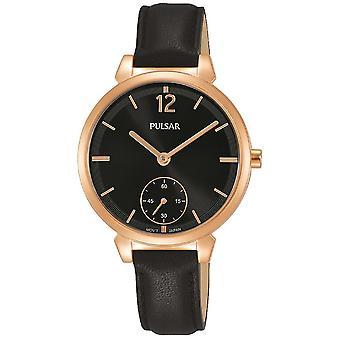 Pulsar señoras negro correa de cuero rosa caja de oro y negro dial 50M reloj PN4072X1